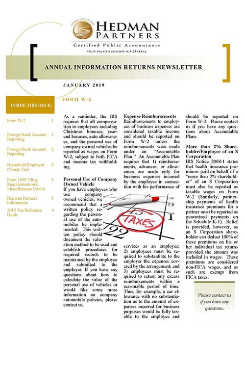 2019 Annual Information Returns Newsletter