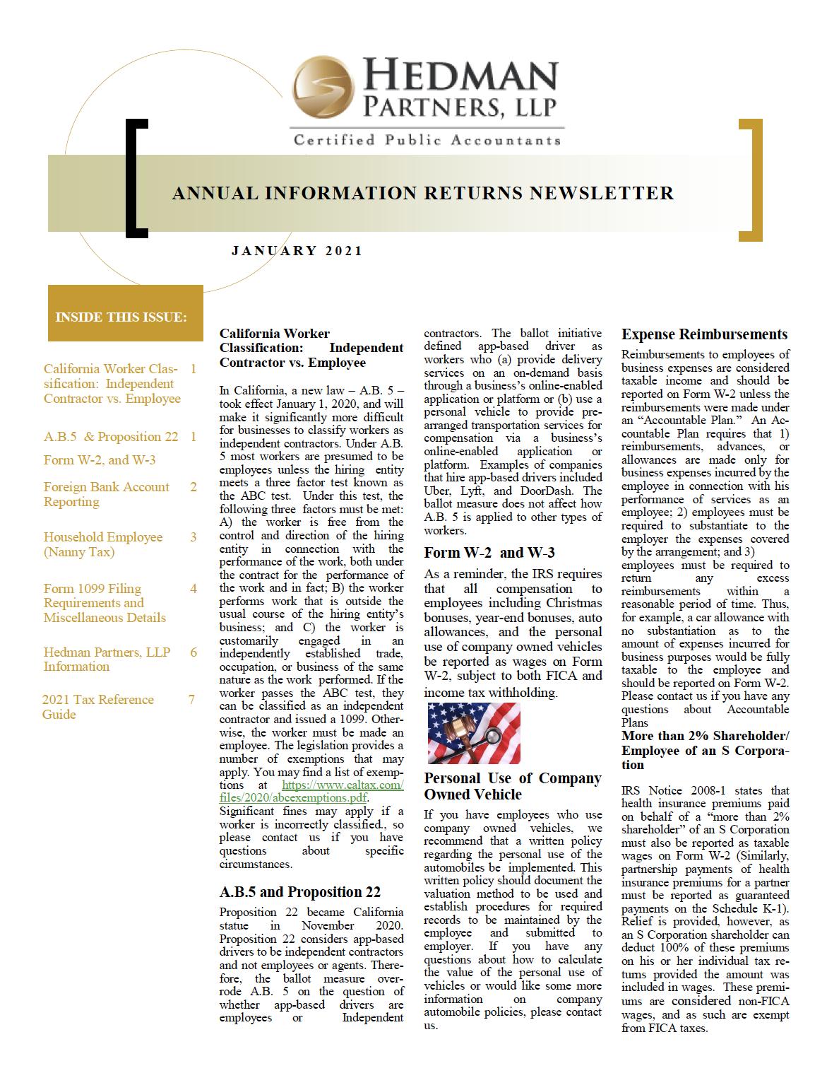 2021 Annual Information Returns Newsletter